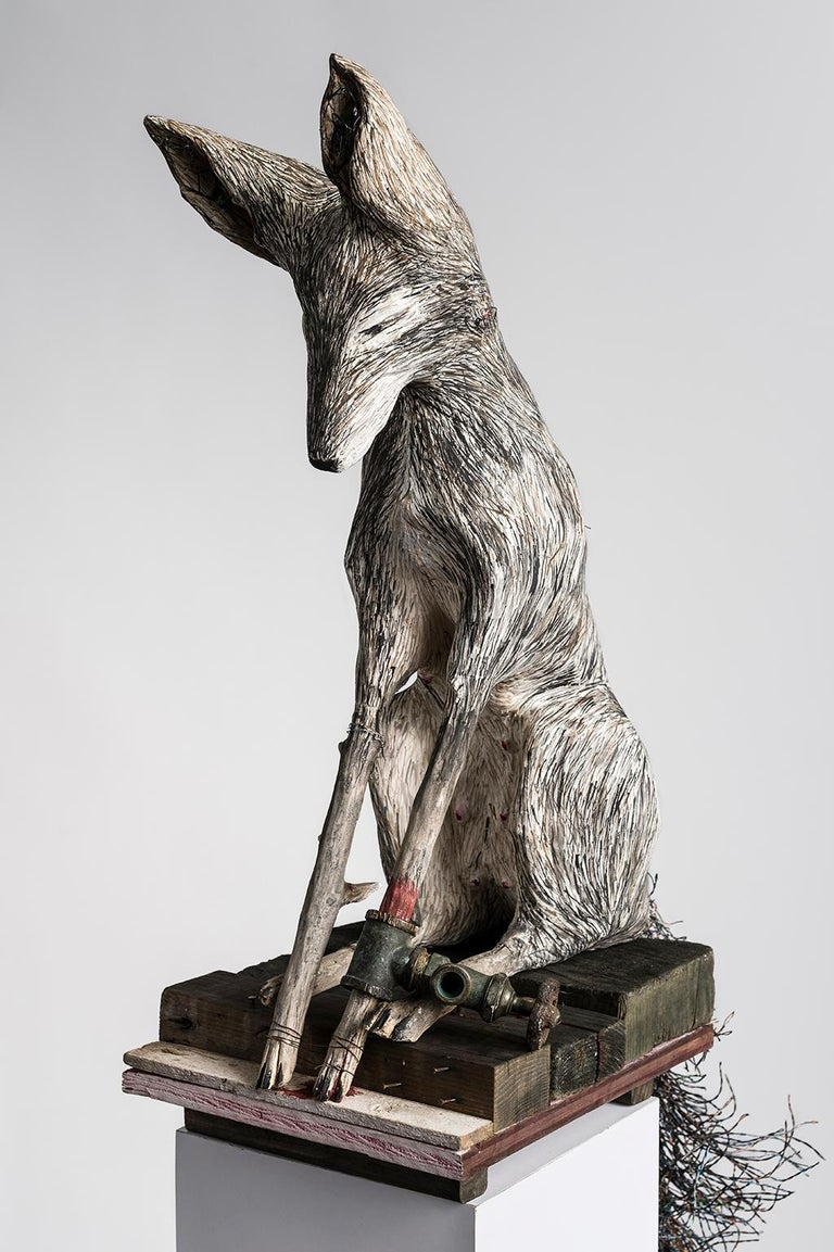 Elizabeth Jordan Figurative Sculpture - Sculpture of Fox on pedestal, earth tone: 'Gate Valve'