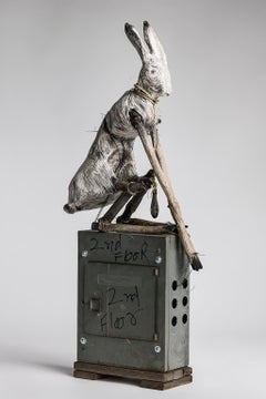Sculpture of Rabbit sitting on electrical box, earth tone: 'Federal Pacific'