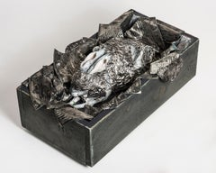 Rabbit Sculpture with tin cans in wood box: 'What Makes A God Weep'