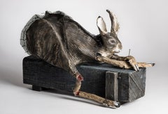 Sculpture of Rabbit on Wood Box: 'Imitation of Life'