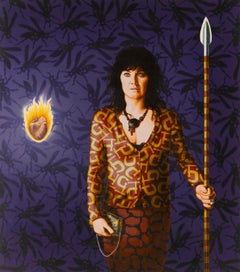 Portrait Painting of Women with Spear in hand w/flaming heart: 'Spear Chucker'
