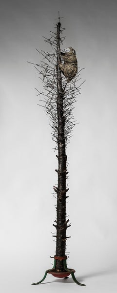Tall Tree sculpture with wire & creature: 'O' Tannenbaum'