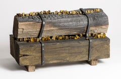 Wood and shellac sculpture of teeth in burned wood planks: 'Arson'