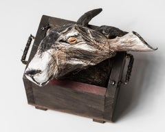 Goat Head sculpture in Wood box: 'Jersey Devil II'