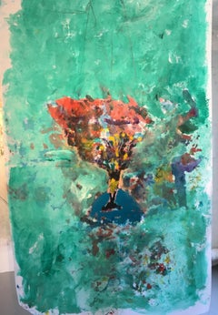 Large Painting of bouquet of flowers on silk: 'Egyptian Blue'