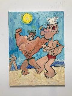 Oil Painting of Bluto & Popeye on the beach: 'Sperlonga'