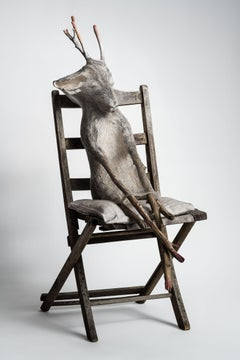 Animal sitting in chair, sculpture: 'Jersey Devil III'