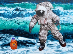 Painting of Astronaut and Tide bottle: 'The Search For Intelligent Life'