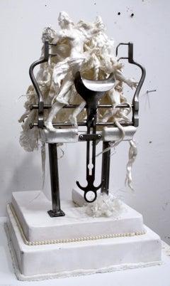Mixed media medium figurative sculpture: 'Small Divorcing Cake '