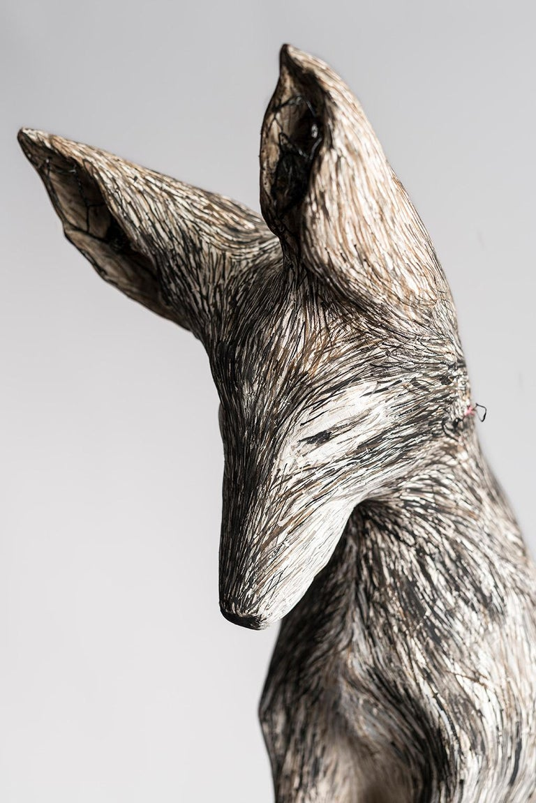Sculpture of Fox on pedestal, earth tone: 'Gate Valve' - Gray Figurative Sculpture by Elizabeth Jordan