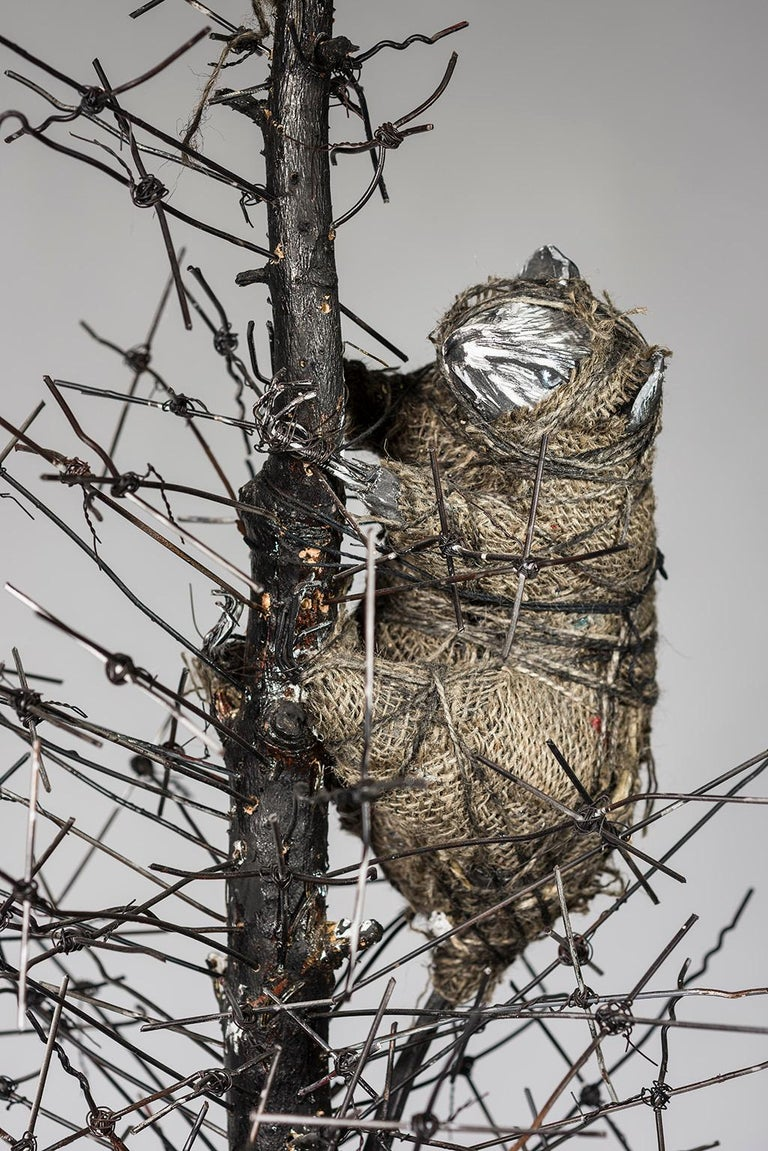 Tall Tree sculpture with wire & creature: 'O' Tannenbaum' For Sale 3