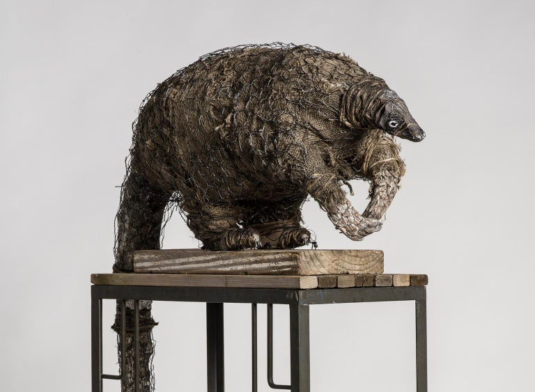 Anteater sculpture on high platform with tin cans: 'A Grim Fairy Tale' For Sale 1
