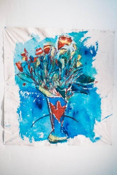 Large Painting on raw canvas of Bouquet of Flowers: 'America Blue'