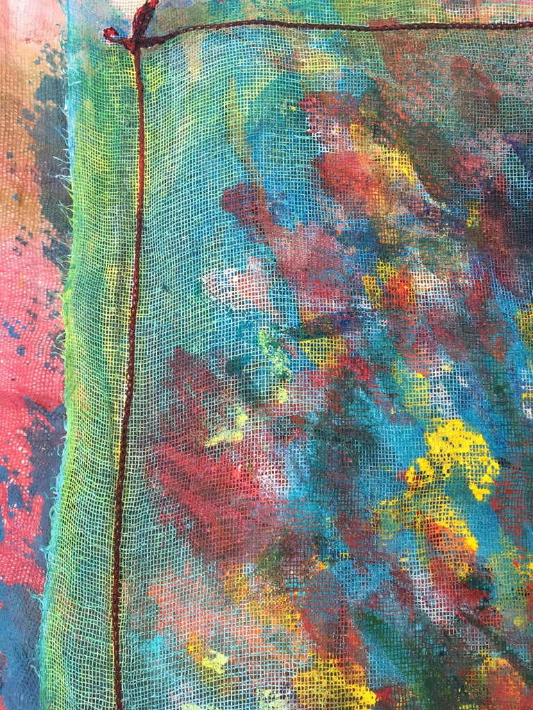 Sewn, painted mixed media painting: 'Transparent Overlay' For Sale 5