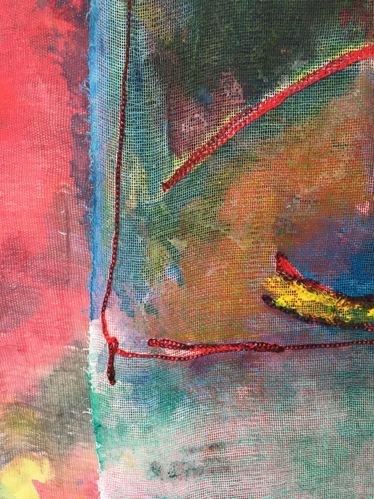 Sewn, painted mixed media painting: 'Transparent Overlay' For Sale 7