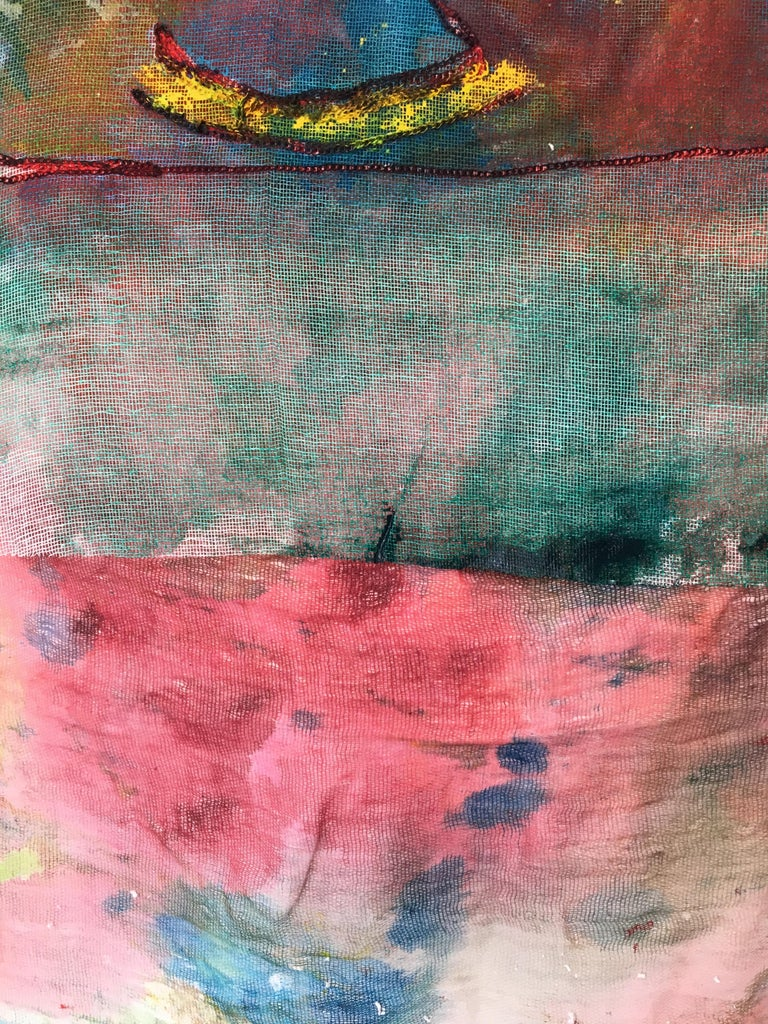 Sewn, painted mixed media painting: 'Transparent Overlay' For Sale 8