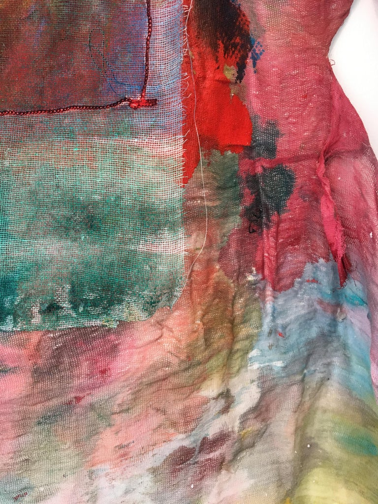 Sewn, painted mixed media painting: 'Transparent Overlay' For Sale 4