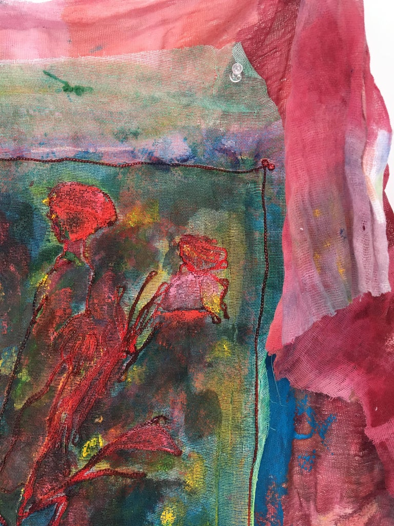 Sewn, painted mixed media painting: 'Transparent Overlay' For Sale 3