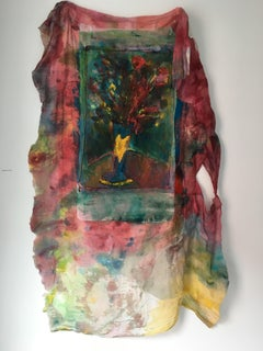 Sewn, painted mixed media painting: 'Transparent Overlay'
