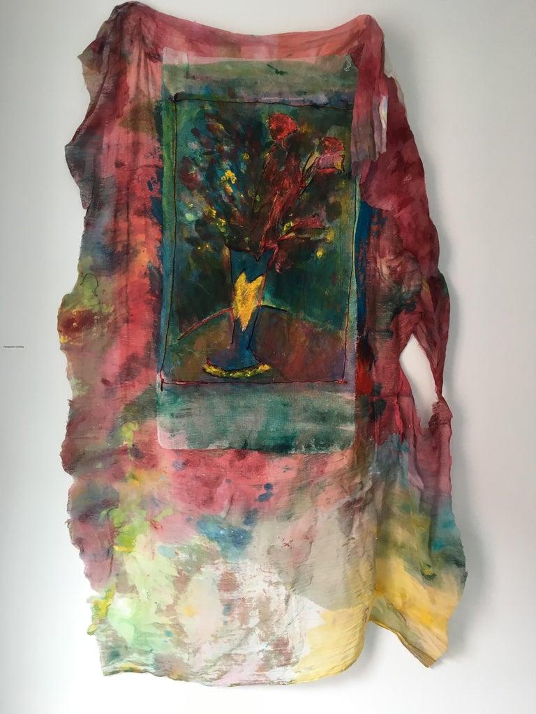 Joel Handorff Still-Life Painting - Sewn, painted mixed media painting: 'Transparent Overlay'