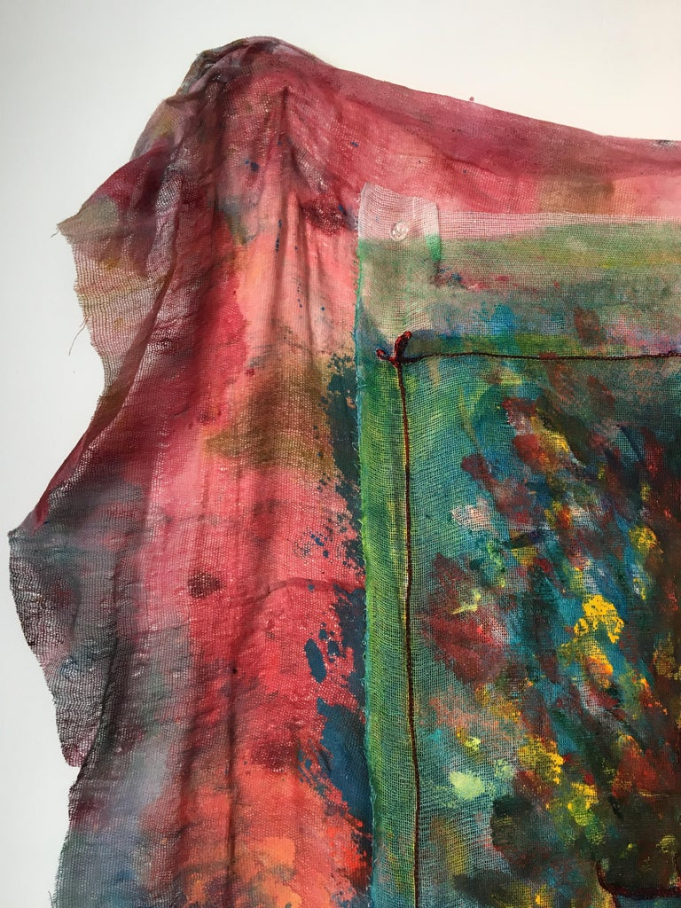 Sewn, painted mixed media painting: 'Transparent Overlay' For Sale 10