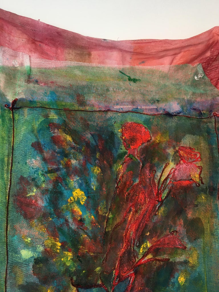 Sewn, painted mixed media painting: 'Transparent Overlay' For Sale 11