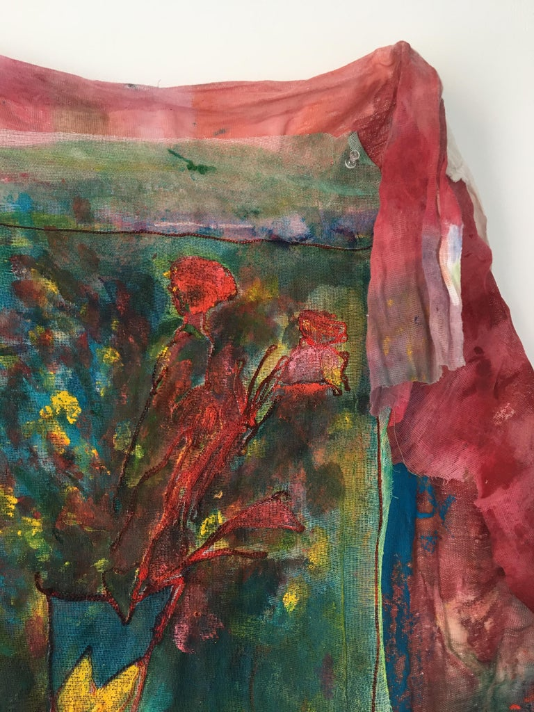 Sewn, painted mixed media painting: 'Transparent Overlay' For Sale 12