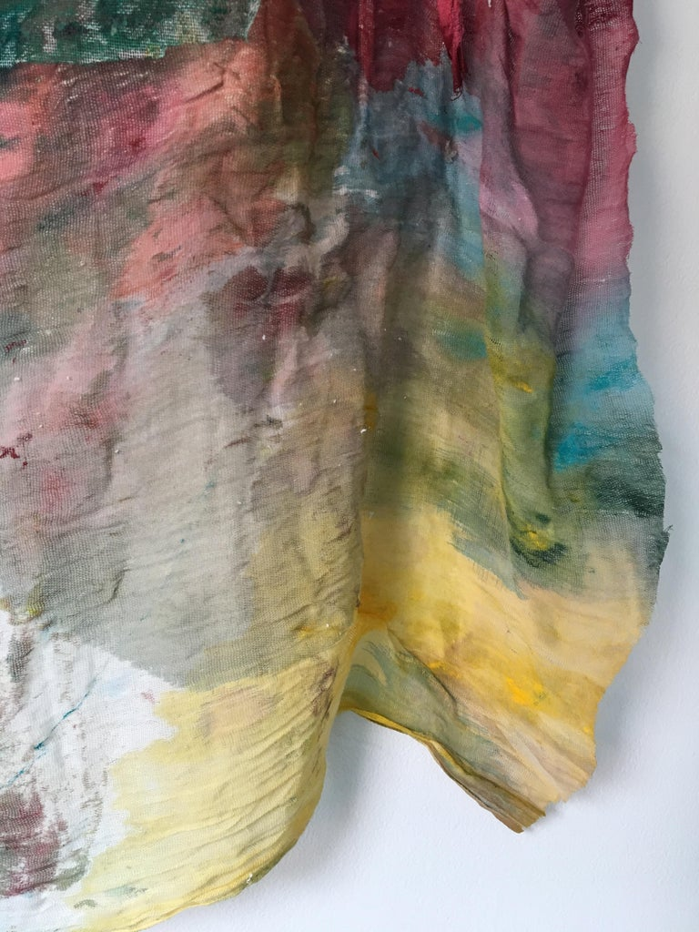 Sewn, painted mixed media painting: 'Transparent Overlay' For Sale 9