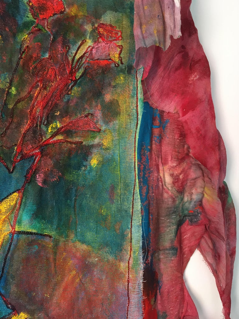Sewn, painted mixed media painting: 'Transparent Overlay' For Sale 2