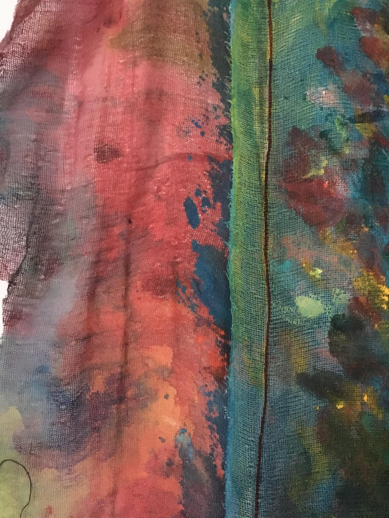 Sewn, painted mixed media painting: 'Transparent Overlay' For Sale 6