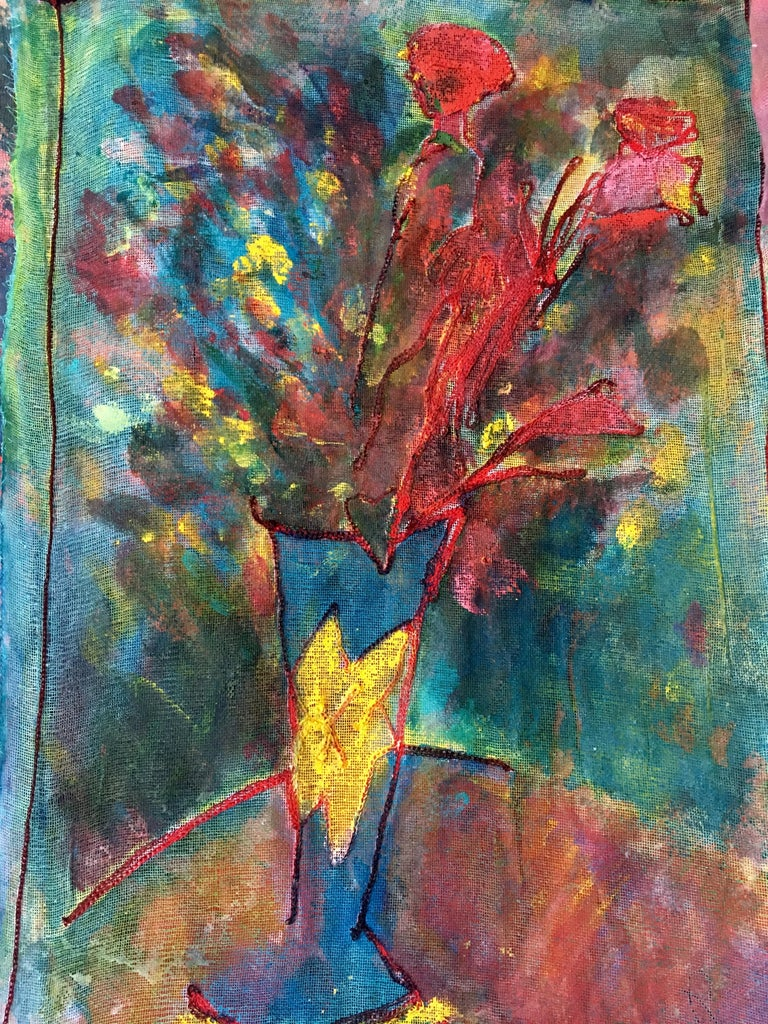 Sewn, painted mixed media painting: 'Transparent Overlay' - Painting by Joel Handorff