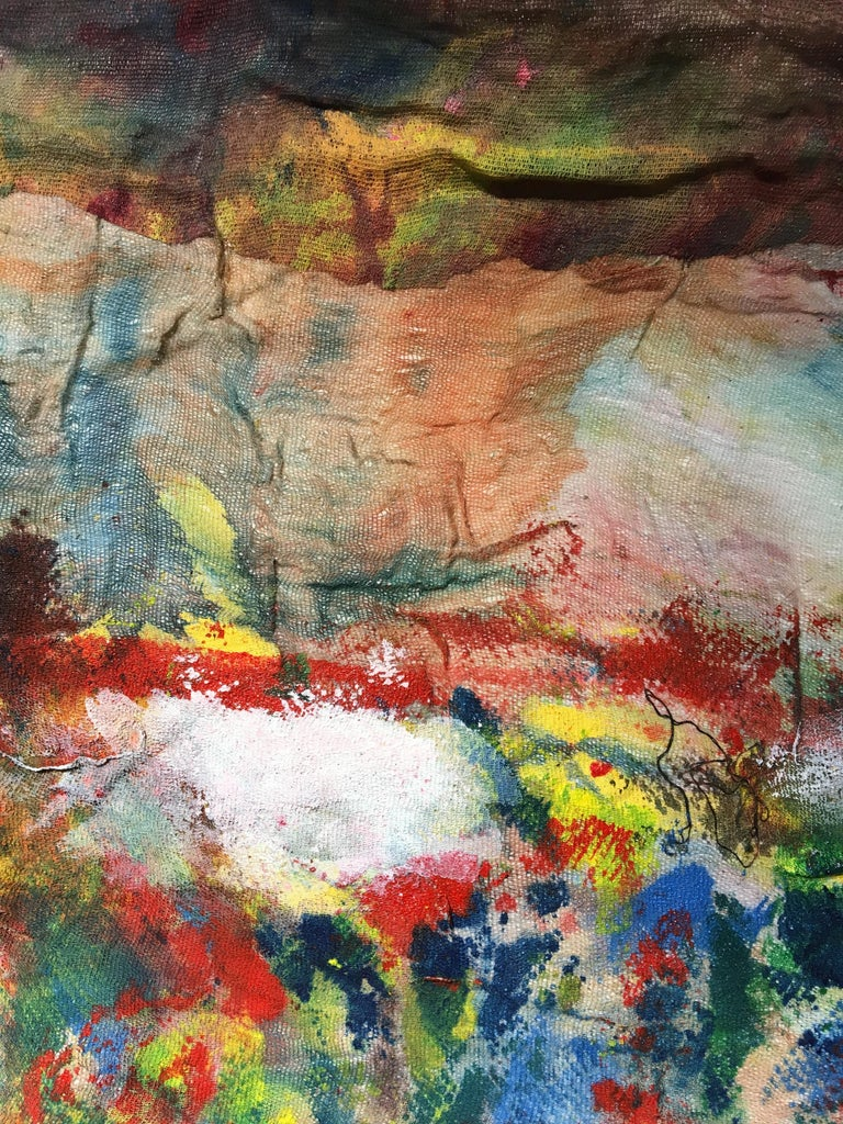 Textile Painting of flowers: 'Rags I' For Sale 5