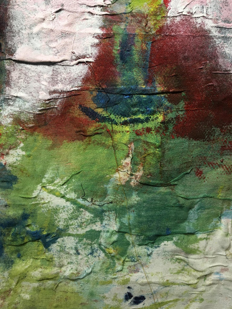 Textile Painting of flowers: 'Rags I' For Sale 9