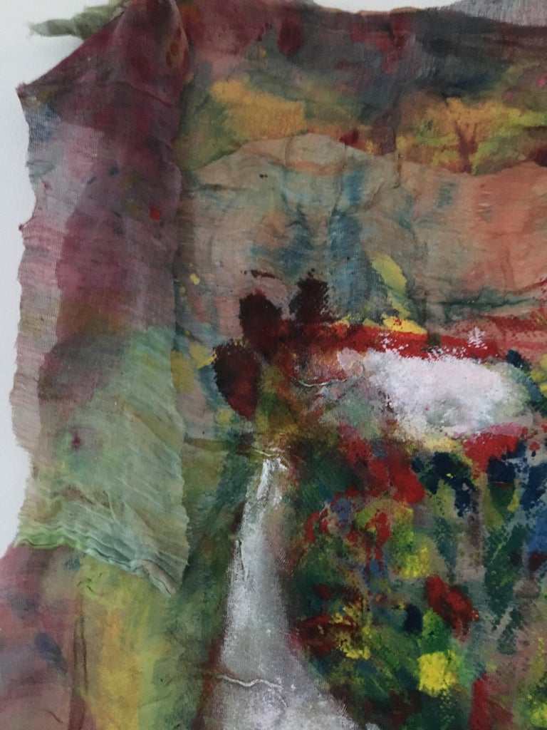 Textile Painting of flowers: 'Rags I' For Sale 4