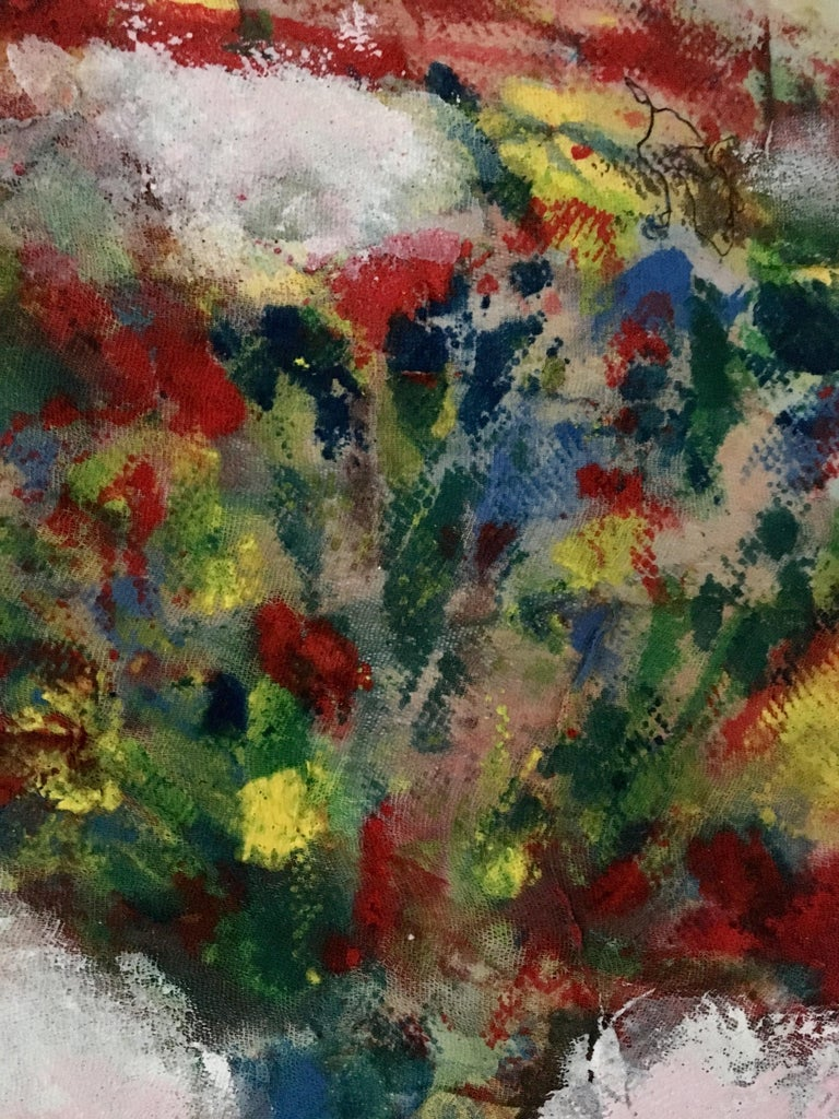 Textile Painting of flowers: 'Rags I' For Sale 2