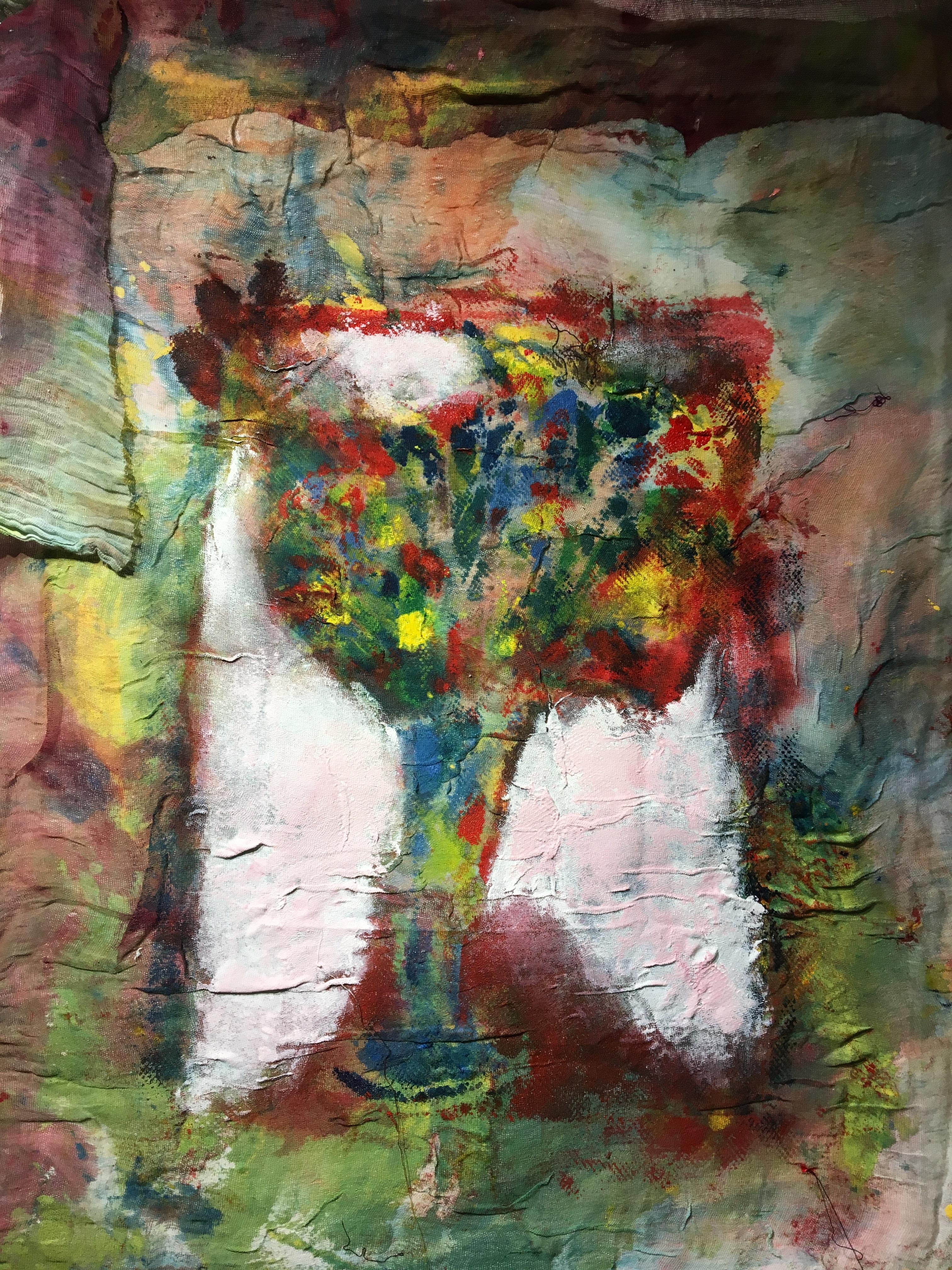Textile Painting of flowers: 'Rags I'