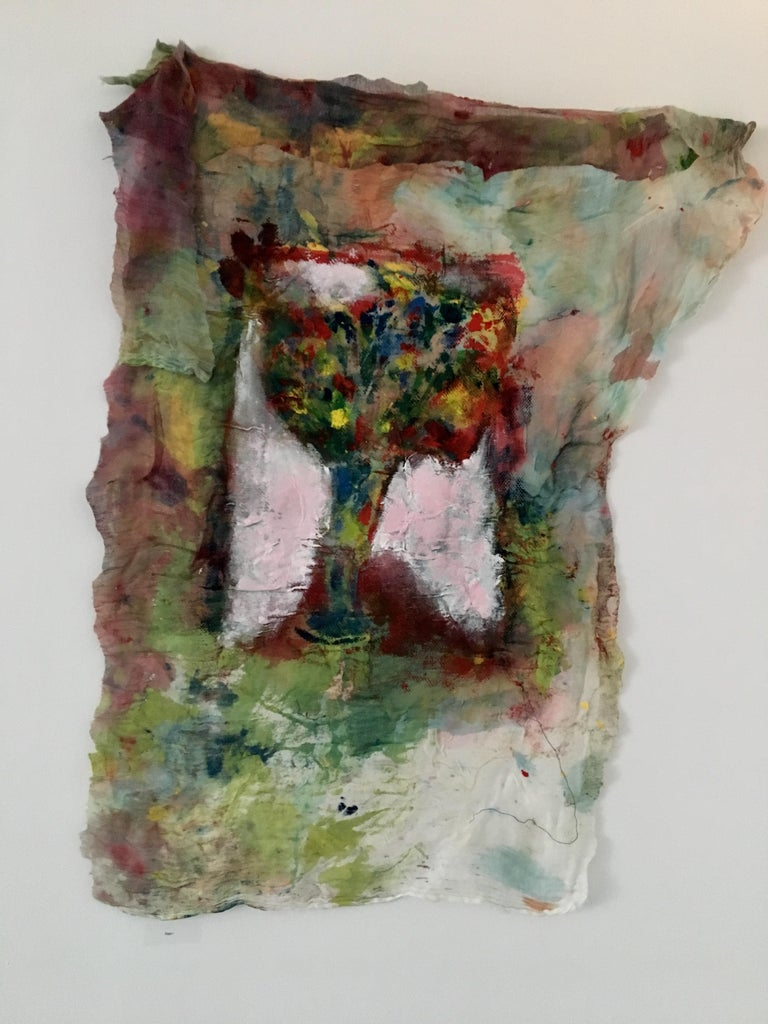 Textile Painting of flowers: 'Rags I' - Brown Still-Life Painting by Joel Handorff