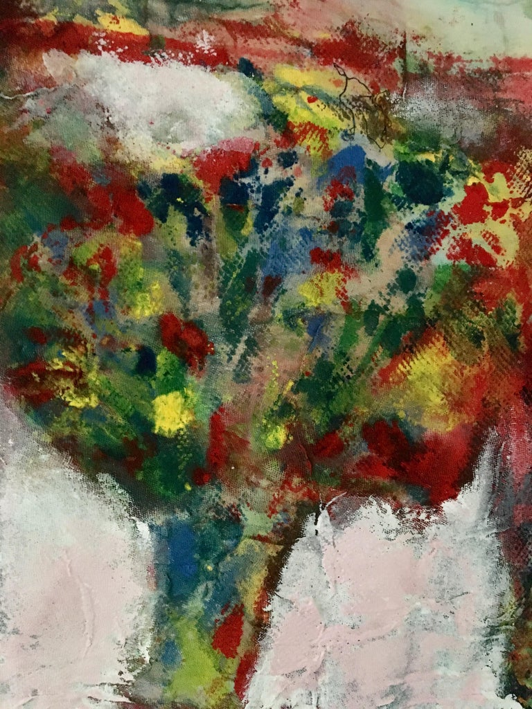Textile Painting of flowers: 'Rags I' For Sale 1