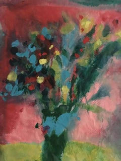 Painting of bouquet of flowers on layers of rice paper: 'Bouquet'