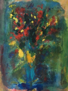 Painting of bouquet of flowers on linen: 'Romanticism'