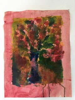 Painting of bouquet of flowers on rice paper: 'Chinese Red'