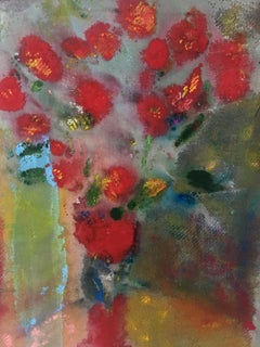 Painting of Bouquet of flowers on canvas : 'Red Pom Poms'