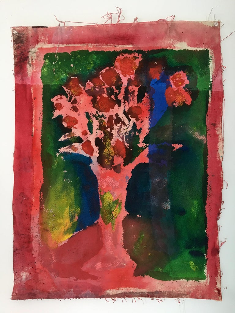 Painting of flowers on canvas: 'Green Backyard' - Contemporary Mixed Media Art by Joel Handorff