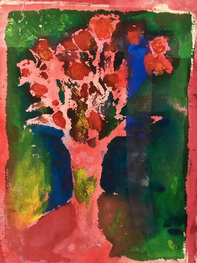 Painting of flowers on canvas: 'Green Backyard' - Mixed Media Art by Joel Handorff