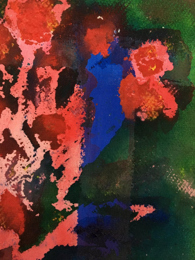 Painting of flowers on canvas: 'Green Backyard' For Sale 2