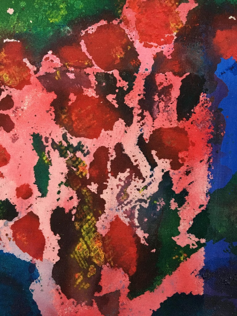 Painting of flowers on canvas: 'Green Backyard' For Sale 5
