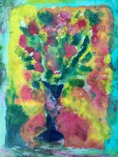 Painting of bouquet of flowers on layers of rice paper: 'Yellow Backyard'