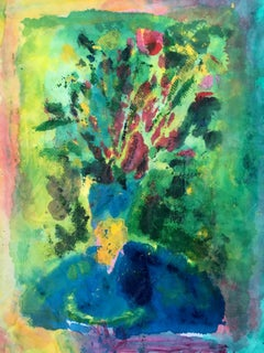 Painting of bouquet of flowers on fabric and rice paper: 'Blue Table'