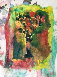 Painting of bouquet of flowers on fabric and rice paper: 'Dream Bouquet II'