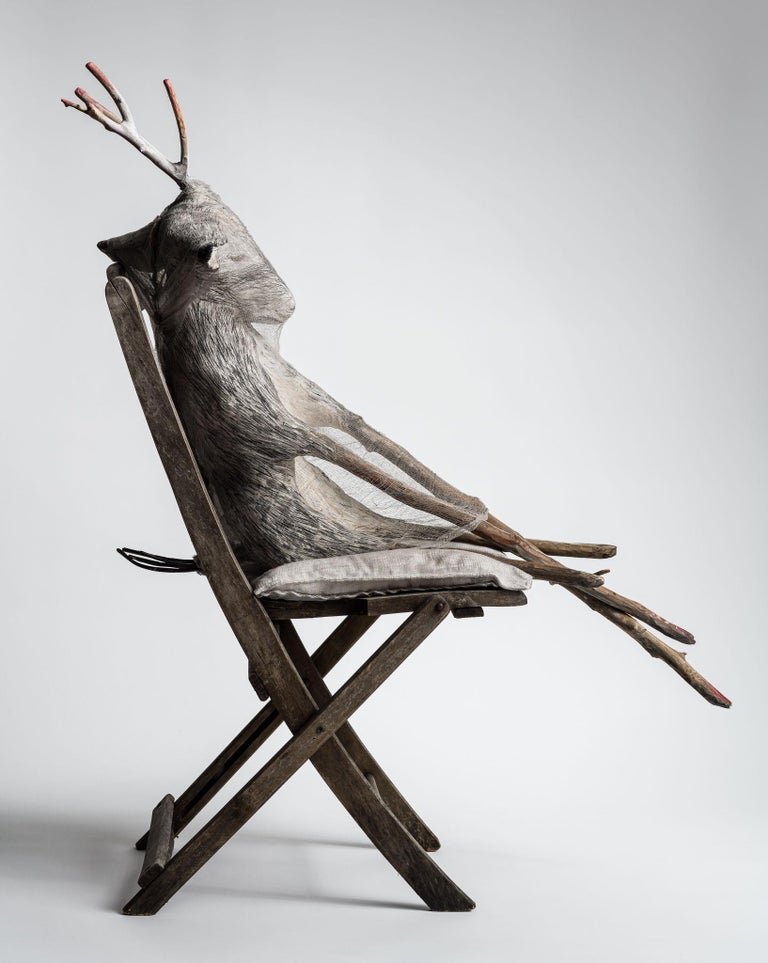 Animal sitting in chair, sculpture: 'Jersey Devil III' For Sale 1
